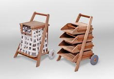 Mobile Carts for Reading Material and Laundry - use the reading cart for whatever project you are working on - Design Milk