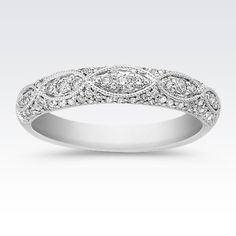 Anniversary coming up? Perfect time to add this vintage-inspired wedding band to your collection. #ShaneCo #ShaneCoChic