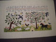 HP-NEEDLEPOINT-CANVAS-SAMPLER-STYLE-PASTURE-W-HORSE-SHEEP-AND-BEE-SKEP