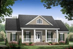 Country , Farmhouse , Traditional House Plan 59976 with 3 Beds, 2 Baths, 2 Car Garage Elevation House Design, New Homes, Gray House Exterior, House, Country Style House Plans, House Painting, House Paint Exterior, Paint Colors For Home, House Exterior