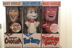 Vintage Count Chocula Boo Berry and Franken Berry General Mills Bobble Heads. - that's so cool!! I used to LOVE watching the commercials for these cereals :)