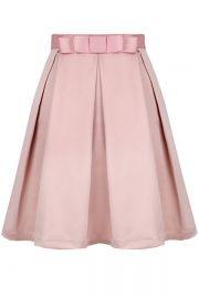 Stretch-Knit Pleated Medi Skirt - OASAP.com