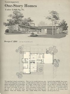 Vintage House Plans, 1960s homes, mid century homes | great placement of storage between bedrooms and living area