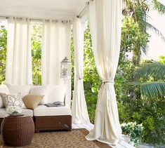 Patio Style– Expanding Your Residence Outdoors – Outdoor Patio Decor Outdoor Curtain Rods, Outdoor Curtains For Patio, Front Porch Curtains, Balcony Curtains, Pergola With Curtains, Outside Curtains, Screened Porches, Outdoor Wreaths, Outdoor Decorations