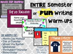 Save 20% by getting: Entire YEAR of FUN Writing Warmups!Do you need some fresh bell-ringers for your classroom??Your students will be EAGER to get started each day with these FUN warm-ups that promote WRITING and CREATIVITY!!  And YOU will have one less item on your to-do list, freeing up your time to work on everything else.I've spent MONTHS perfecting this item, ensuring it has the most RELEVENT and ENGAGING activities for our students (yes, my students will be using this too).