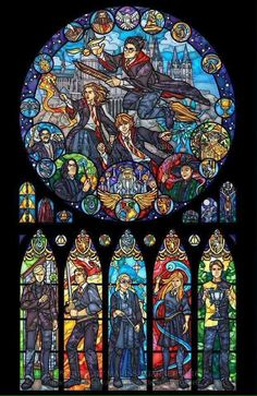 Harry Potter Stained Glass Window Magnificent !!!
