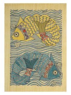 Staying Afloat Fish (Madhubani Artwork on Handmade Paper) Indian Illustration, Pen Illustration, Madhubani Art, Indian Folk Art, Indian Art Paintings, Embroidery Works, Madhubani Painting, India Art, Tribal Art
