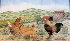 """Cindy's French Farmhouse and Chickens""  Scene of French farmhouse, chickens, chicks and a bossy rooster in a peaceful countryside setting.  Custom designed decorative kitchen backsplash tile mural.  Hand painted on 6 x 6 inch ceramic tile. Beautiful installation: http://www.houzz.com/projects/238078/-Cindy-s-French-Country-Farmhouse-and-Chickens--kitchen-backsplash-tile-mural"