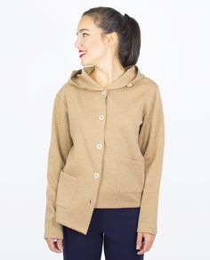 BEIGE JACKET WITH HOOD Hooded Jacket, Knitwear, Fall Winter, Athletic, Beige, Pullover, Sweaters, Jackets, Products
