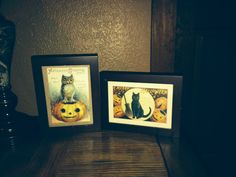 These vintage Halloween post cards were given to my boys this year. They were so unique that I matted & framed them. They add an extra flair to our a Halloween decor.