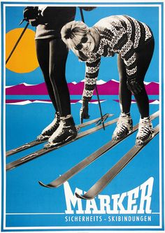 Marker Ski Binding ad -1963 Nordic Skiing, Alpine Skiing, Ski And Snowboard, Snowboarding, Best Snowboards, Vintage Ski Posters, Ski Bindings, Alpine Style, Ski Racing