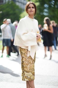 Cream split poncho jacket + gold brocade skirt :: Miroslava Duma :: London