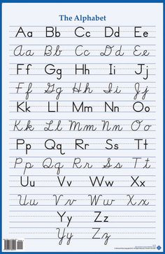 This poster-sized chart x has the alphabet listed in manuscript and cursive. If you don't have the wall space for our Alphabet Wall Charts, this poster is the perfect resource for your students. Alphabet A, Cursive Fonts Alphabet, Cursive Handwriting Practice, Cursive Writing Worksheets, Improve Your Handwriting, Handwriting Analysis, How To Write Cursive, Teaching Cursive Writing, Capital Cursive Letters