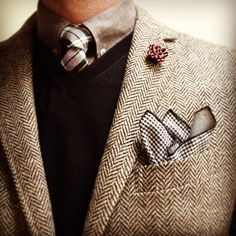 tweed suit and plaid tie...