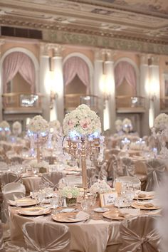 Pink and gold wedding reception decor. Love this but needs some bright flowers