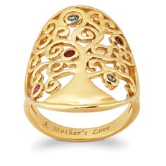"""gold over sterling tree of life family ring with up to 6 birthstones.   it is engraved with  """"a mother's love"""" inside.  great gift"""