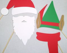 Santa and Elf 4pc Set - Christmas Photo Booth Props - Holiday Photo Booth Props