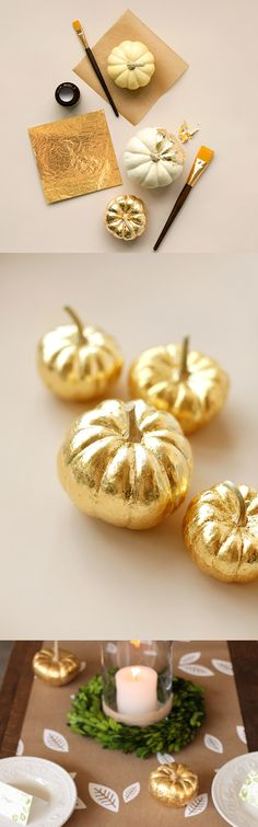 gold home accessories home accessories homeaccessories How To Gold-Leaf a Pumpkin - perfect to transform Halloween mini pumpkins into something for Thanksgiving Thanksgiving Crafts, Thanksgiving Table, Thanksgiving Decorations, Fall Crafts, Halloween Decorations, Pumpkin Decorations, Fall Table, Decor Crafts, Thanksgiving Wedding