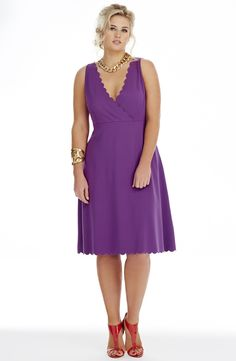 Scallop Edge Detail Dress. Sweet Purple   Style No: D2230 Heavy weight Stretch Jersey Fabric Fabric Dress. This Crossover Dress features an Empire Line bodice with an under Bust Seam. There is a pretty Scallop edge on the neck and hemline. This sleeveless dress is just below knee length. #dreamdiva #dreamdivafiles #fashion