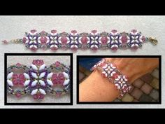 """▶ Beading4perfectionists : """"Summer butterfies"""" beaded bracelet with swarovski beading tutorial - YouTube"""