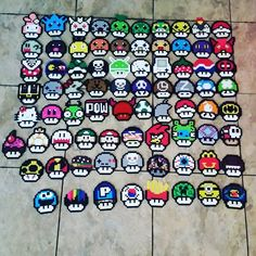 Mario mushroom collection perler beads by mrkennyyy