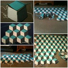 I love this! Vasarely style blanket, is also known as tumbling blocks.