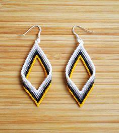Miyuki yellow diamond 925 Silver earrings by Ccedille on Etsy