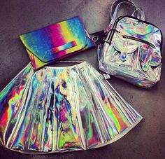 holographic skirt, clutch, and backpack Looks Cool, Looks Style, My Style, Gyaru, Visual Kei, Steam Punk, Holographic Fashion, Harajuku, Space Grunge