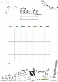 {Freebies} 10 printables pour s'or-ga-ni-ser! Bullet Journal Month, Bullet Journal Layout, Bullet Journal Inspiration, Organization Bullet Journal, Planner Organization, Classroom Organization, Monthly Planner, Planner Pages, Food Planner