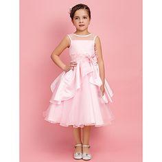 Flower Girl Dress Tea-length Satin/Organza Ball Gown/A-line/Princess Sleeveless Dress – USD $ 79.99