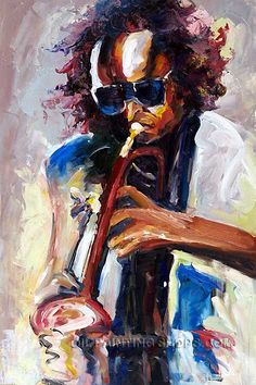 """Stretched Large Wall Art Cheap Abstract Painting Art Jazz Miles Davis, Size: 24"""" x 36"""", $100. Url: http://www.oilpaintingshops.com/stretched-large-wall-art-cheap-abstract-painting-art-jazz-miles-davis-0942.html"""
