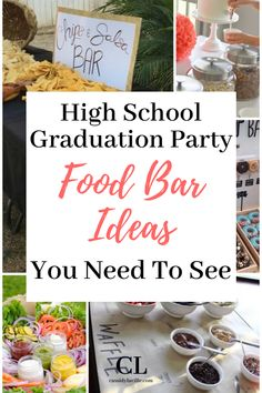 These food bar ideas are perfect for any high school graduation party. 15 delicious high school graduation party spread ideas. #graduation #highschool Teacher Graduation Party, Vintage Graduation Party, Outdoor Graduation Parties, Graduation Party Planning, Graduation Ideas, Bar Ideas, Perfect Food, Spreads, High School