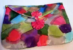Small purse silk- hand painted handmade one of a kind accessory, artisan made unique gift made in the Hudson Valley