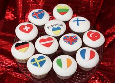 These were such fun to make! Made for a friend at work who was having a Eurovision party. Am so glad I did the German flag! Hetalia, Eurovision 2014, Cup Art, Party Planning, Cake Decorating, Birthday Parties, Birthday Cakes, Sweet Treats, Crafts For Kids
