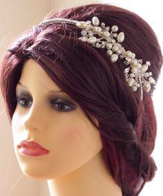 Bride Side tiara, crystal, Pearl, wedding pearl tiara, Swarovski, crystal side band, Bridal Headband, vintage, classic style, great gatsby by dazzlejewellery1 on Etsy