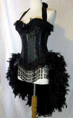 D-D-Black-Moulin-Showgirl-Dance-Circus-Burlesque-Victorian-Lace-Costume-S-M-L