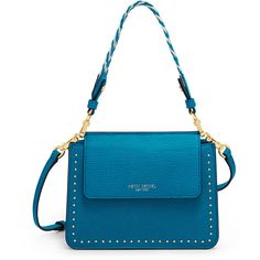 Henri Bendel Stanton Mini Studded Crossbody With Woven Strap ($111) ❤ liked on Polyvore featuring bags, handbags, shoulder bags, indigo bunting, mini shoulder bag, crossbody wristlet, purse shoulder bag, mini crossbody purse and crossbody shoulder bag