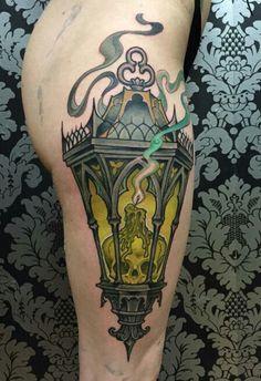Nice Lantern Tattoo By Matt Buck .❤Colours - Nice Lantern Tattoo By Matt Buck . Cool Tattoos For Guys, Great Tattoos, Unique Tattoos, Beautiful Tattoos, Leg Tattoos, Body Art Tattoos, Tattoos For Women, Sleeve Tattoos, Piercing Tattoo