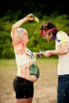 looks like a fun maternity photo shoot.