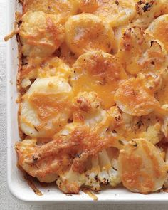 Potato, Cauliflower, and Cheddar Bake - A great way to use a several day old head of cauliflower that you have in the fridge, I shared some with a friend and it was a big hit!