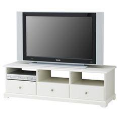 "$299 LIATORP TV unit - IKEA  Width: 57 1/8 ""  Depth: 19 1/4 ""  Height: 17 3/4 ""  Max. load: 220 lb"