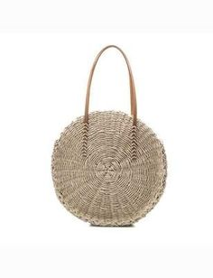 00c0571d12fa Pom Pom Straw Circle Bag – Nude