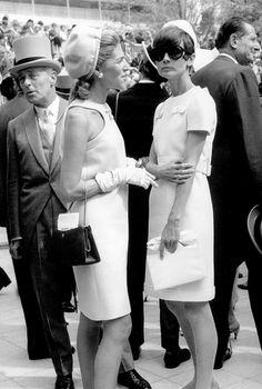 Audrey Hepburn & Baroness Marie-Hélène de Rothschild at the Longchamp horse race in Paris, 1966.