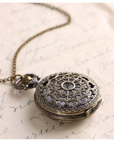 Antique Gold Large Filigree Watch Necklacewe have these in our store...:)