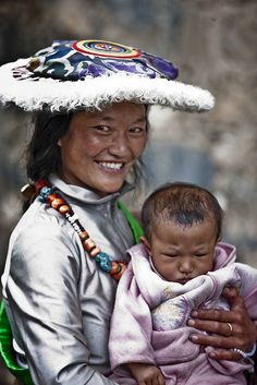 Young Tibetan Lady with her Baby