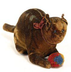STEIFF early velvet cat with ball of wool.