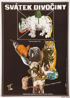 Movie Poster for wildlife documentary Wild Nation, poster design: Eva Heřmanská, Czechoslovakia, 1978 | #vintageposters #collage #graphicdesign