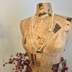 Two Strand Pearl & Rhinestone Star Necklace and Bracelet Set, Multi Strand Vintage Joan Rivers Gold Tone Rhinestone Crystal Star Clasp by ReTHINKinIt on Etsy