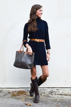 fashion blogger lcb style tory burch sweater dress frye boots barbour beadnell jacket melissa button boot goyard hermes