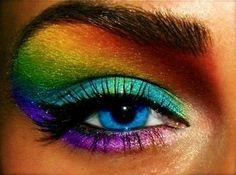 rainbow eyeshadow! it looks pretty fierce!